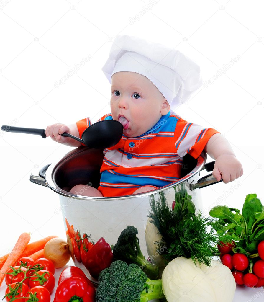 Little boy in a suit of the cook in the kitchen preparing soup. Isolated on white background — Stock Photo #10578603