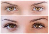 Natural and false eyelashes before and after. — Stock Photo
