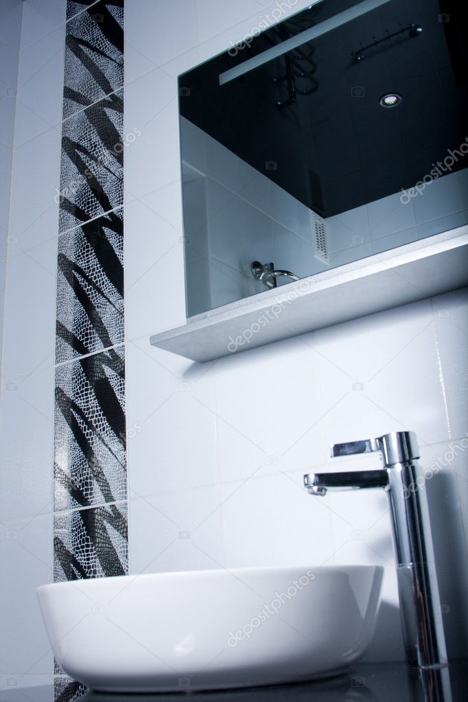 Black and white portrait of a modern style bathroom  Stock Photo #9124689