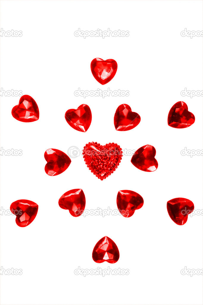 Snowflake of red hearts on Christmas greetings and Valentine's Day — Stock Photo #9173492
