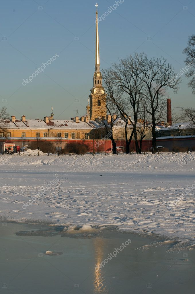 The Peter and Paul Fortress in St.-Petersburg in the winter  Stock Photo #9026500