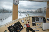 In the captain's cabin river ship — Stock Photo