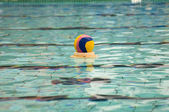Water polo action and equipment in a swimming pool — Stock Photo