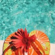 Flip Flops on white towel pool - Stock Photo