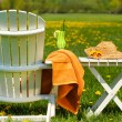 Adirondack chair in grass ready for relaxing - Stock Photo