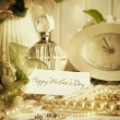 Note card with jewerly for mother's day - Stock Photo
