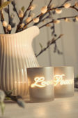 Meditation votive candles creating a relaxing atmosphere — Stock Photo