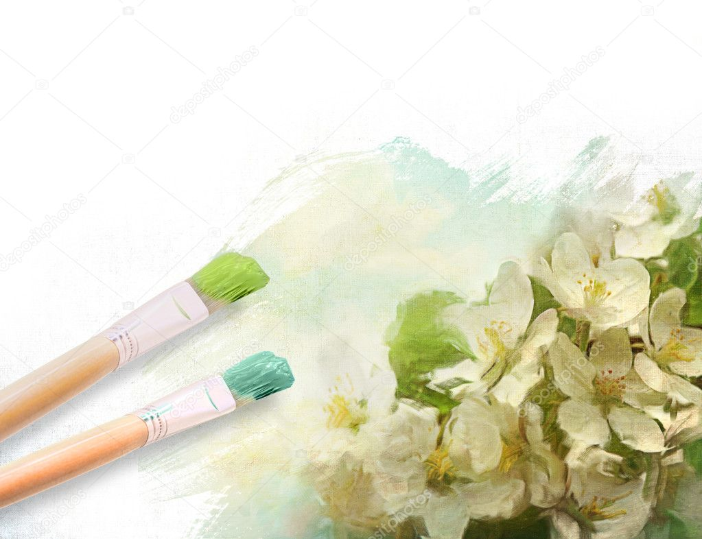 Artist brushes with a half finished painted floral canvas — Stock Photo #10246019