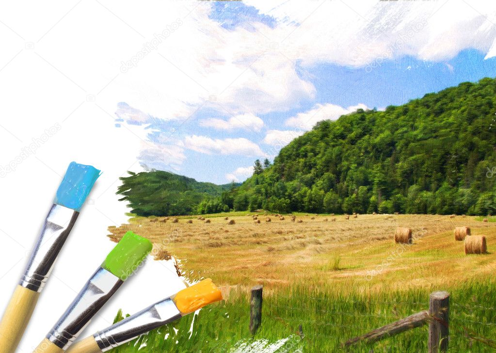 Artist brushes with a half finished painted canvas of rural landscape canvas — Stock Photo #10246078