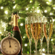 Glasses of champagne for New Years — Stock Photo #8017539
