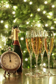 Glasses of champagne for New Years — Stock Photo