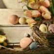 Stock Photo: Eggs and tulips with nostalgic feeling for Easter