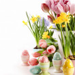 Easter eggs with spring flowers on white — Stock Photo