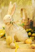 Easter bunny and eggs with a painterly effect — Stock Photo