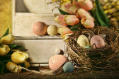 Eggs and tulips with nostalgic feeling for Easter — Stock Photo