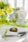Place setting with card for easter brunch — Stok fotoğraf