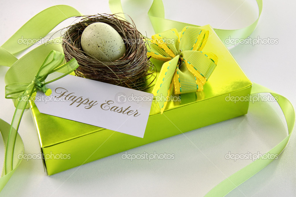Gift card and egg in nest for Easter  Stock Photo #9164419