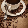 Cup of coffee on wood background - Stockfoto