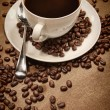 Cup of coffee on wood background - Foto de Stock