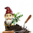Постер, плакат: Garden gnome and tools for spring planting
