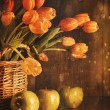Stock Photo: Spring tulips and with vintage feeling