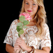 Lovely girl with pink rose. — Stock Photo