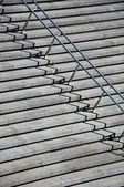 Stairs with stainless steel handrails — Stock Photo