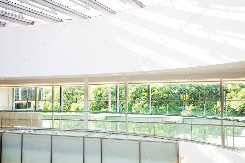 High tech interior of a modern office building stock for Modern office building interior