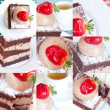 Collage of beautiful cake with strawberry and tea - Stock Photo