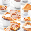 Collage of tea and toast with caramel,toast with butter — Stock Photo