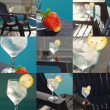 Collage of swimming pool, lounge, a wine glass with ice, lemon a — Stock Photo