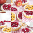 Collage of beautiful cake with berries,apple and tea - Stock Photo