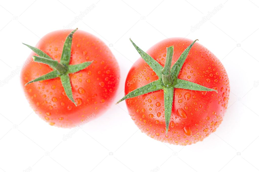 Tomato with water drops isolated on white  Stock Photo #8057483