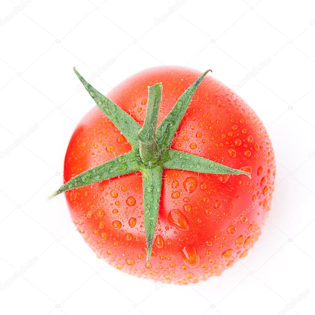 Tomato with water drops isolated on white — Stock Photo #8057511