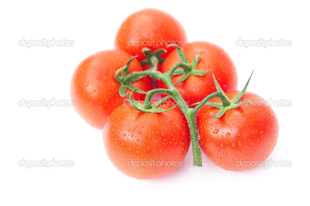 Tomato with water drops isolated on white — Stock Photo #8057521