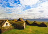 Turfed housing in Iceland — Stok fotoğraf