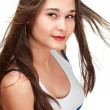 Potrait of asian girl wih britain flag on tank top — Stock Photo #8056180