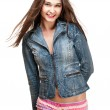 Sexy woman in colorful panty and jeans jacket — Stock Photo #8056186