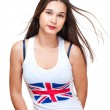 Potrait of asian girl wih britain flag on tank top — Stock Photo