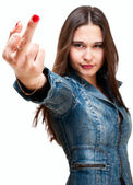 Young asian girl showing middle finger — Stock Photo