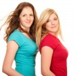Portrait of two women redhead and blonde — Stock Photo