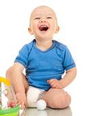 Lachen jongetje in luier — Stockfoto