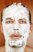 Man with shaving Cream on Face — Stock Photo