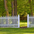 White Picket Fence to the Park — Stock Photo