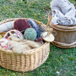 Handcraft items in baskets — Stockfoto