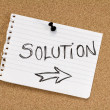 Solution note on pinboard — Stock Photo
