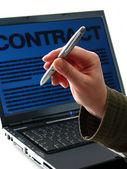 Penna, computer portatile, contratto — Foto Stock