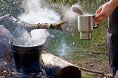 Café de la mañana en el camping — Foto de Stock