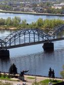 Salu bridge on the Daugava — Stock Photo