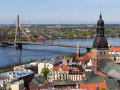 Riga Old Town and Vansu Bridge — Stock Photo